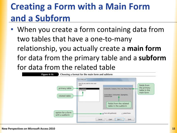 Creating a Form with a Main Form