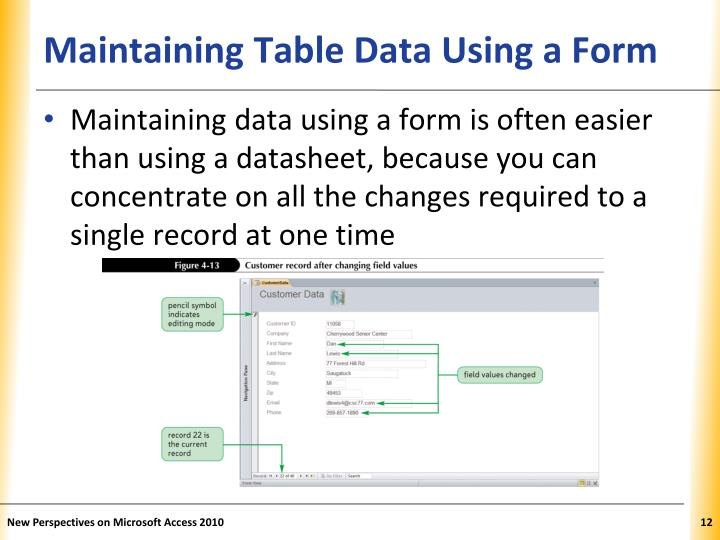 Maintaining Table Data Using a Form