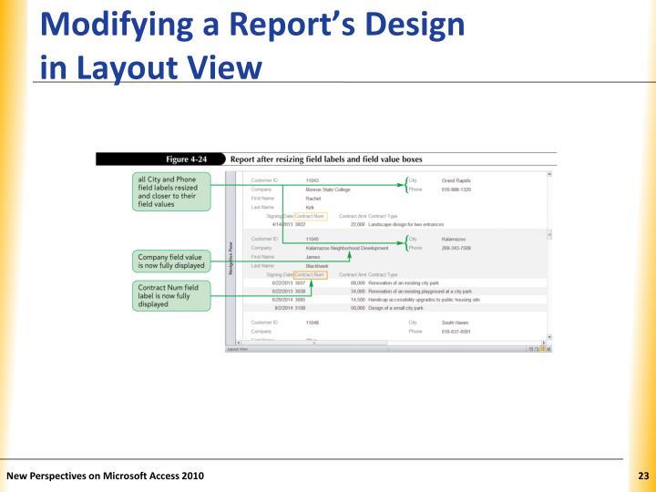 Modifying a Report's Design