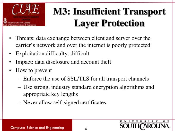M3: Insufficient Transport Layer Protection