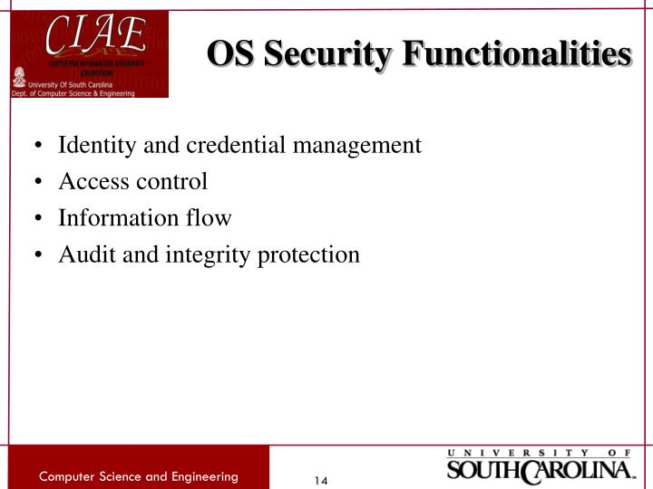 OS Security Functionalities