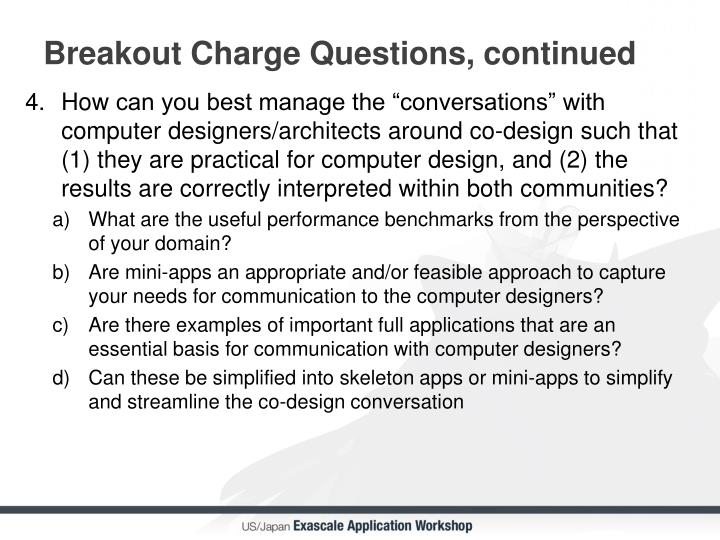 Breakout Charge Questions, continued