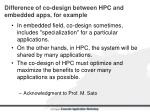 d ifference of co design between hpc and embedded apps for example