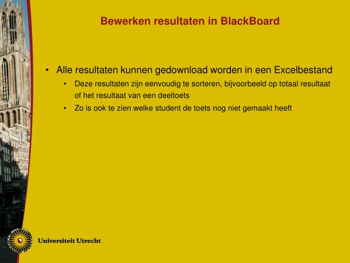 Bewerken resultaten in BlackBoard