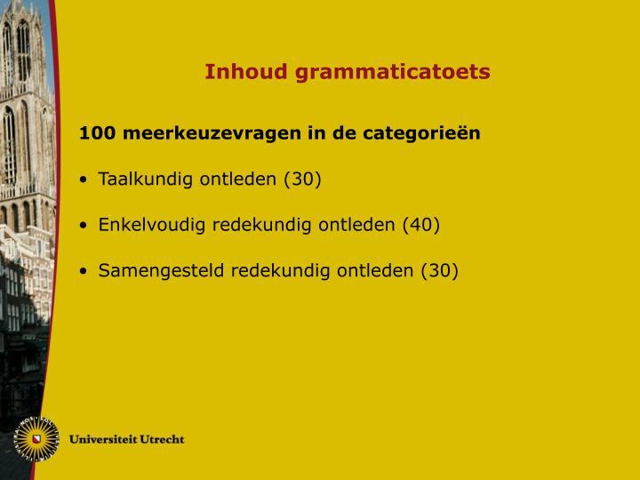 Inhoud grammaticatoets