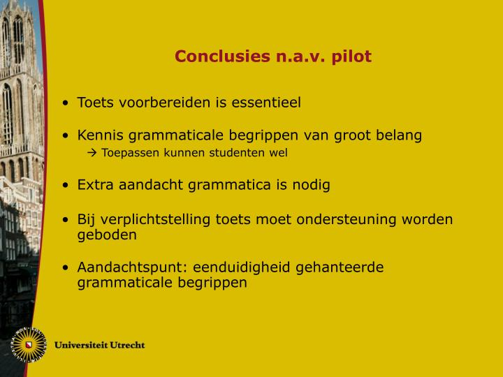 Conclusies n.a.v. pilot