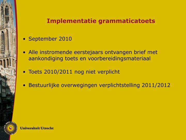 Implementatie grammaticatoets