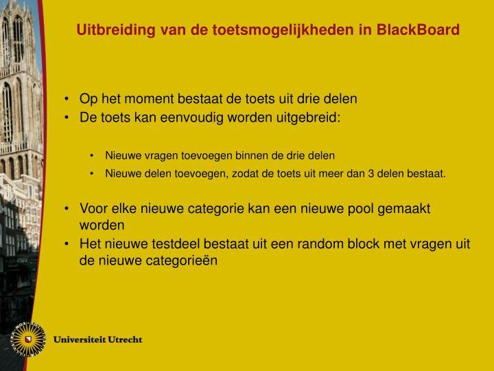 Uitbreiding van de toetsmogelijkheden in BlackBoard