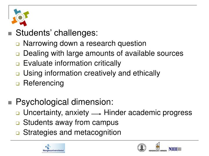 Students' challenges: