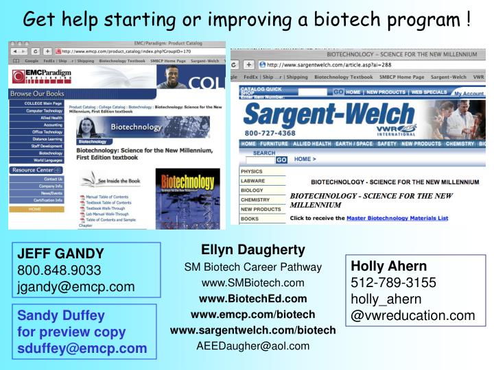 Get help starting or improving a biotech program !
