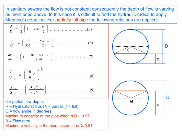 In sanitary sewers the flow is not constant; consequently the depth of flow is varying as mentioned ...
