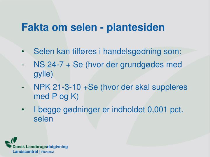 Fakta om selen - plantesiden