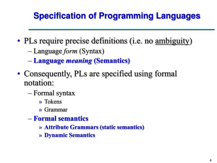 Specification of Programming Languages
