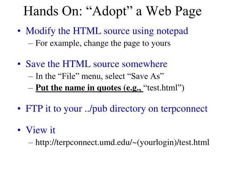 "Hands On: ""Adopt"" a Web Page"