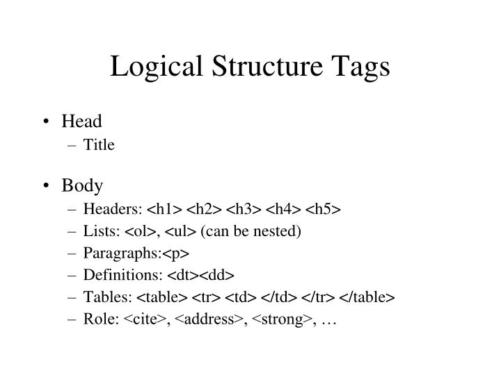 Logical Structure Tags
