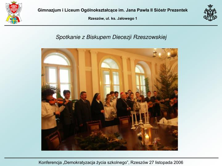 Spotkanie z Biskupem Diecezji Rzeszowskiej