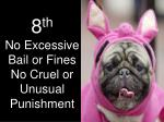 8 th no excessive bail or fines no cruel or unusual punishment