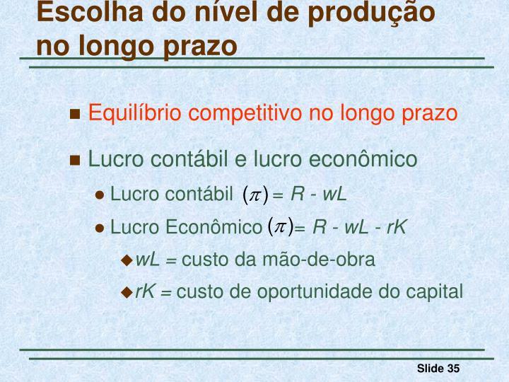 Escolha do nível de produção no longo prazo