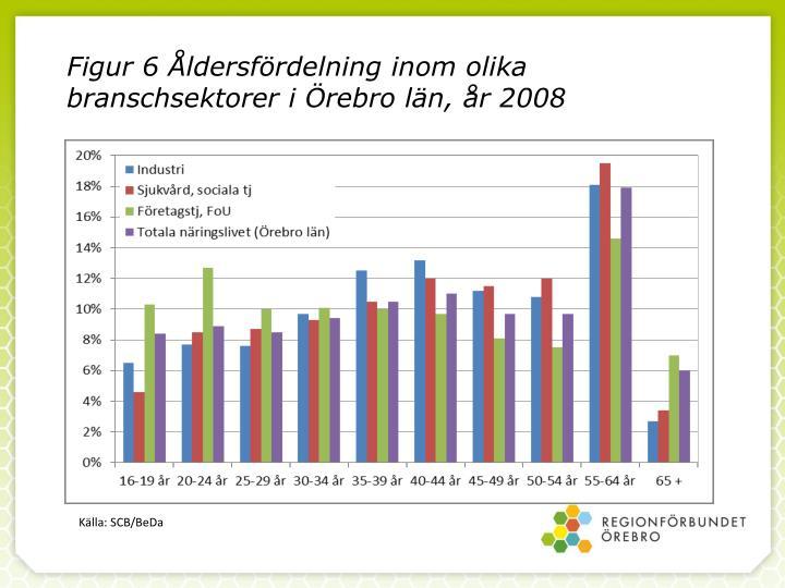 Figur 6 Åldersfördelning inom olika branschsektorer i Örebro län, år 2008