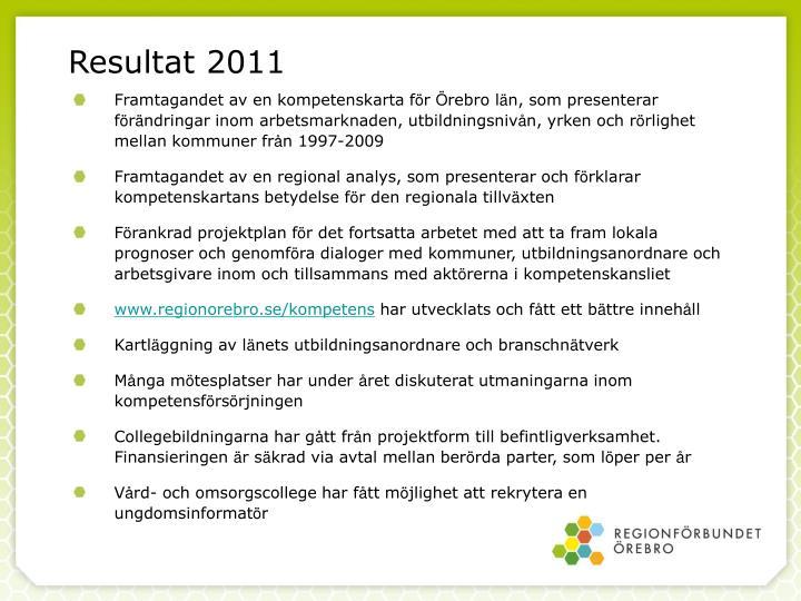 Resultat 2011
