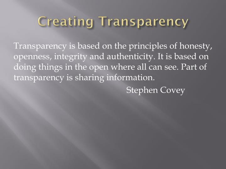 Creating Transparency