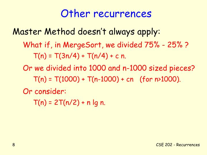 Other recurrences