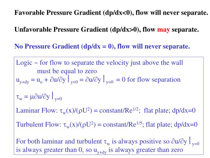 Favorable Pressure Gradient (dp/dx<0), flow will never separate.