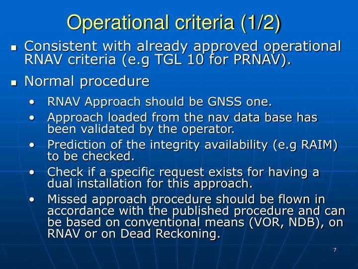Operational criteria (1/2)