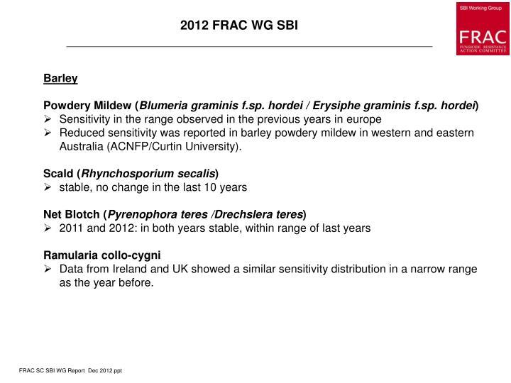 2012 FRAC WG SBI