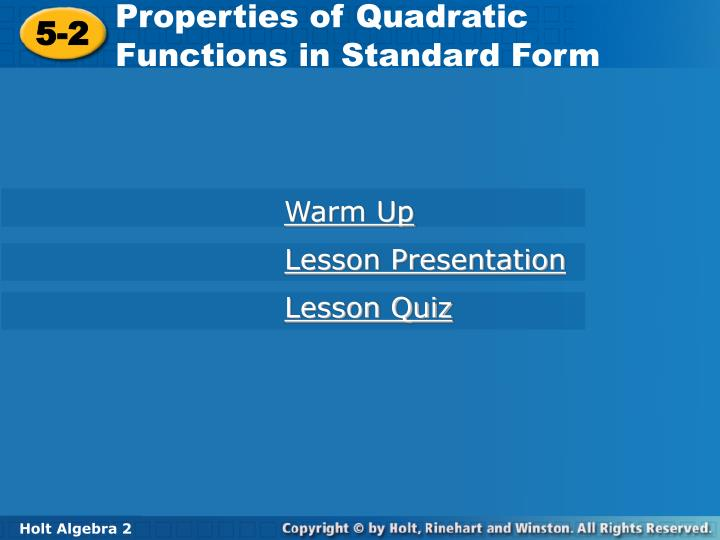 Properties of Quadratic Functions in Standard Form