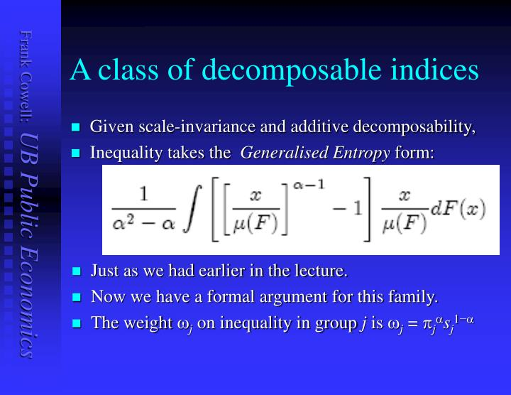 A class of decomposable indices