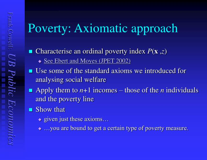 Poverty: Axiomatic approach