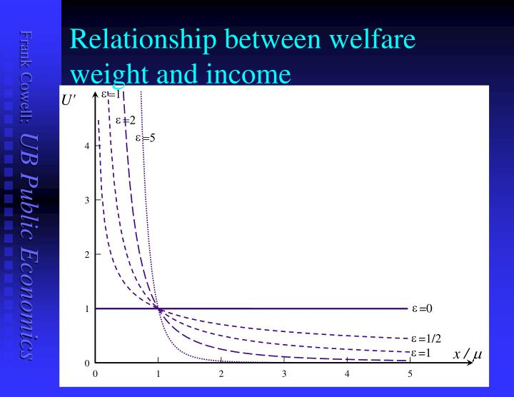 Relationship between welfare weight and income