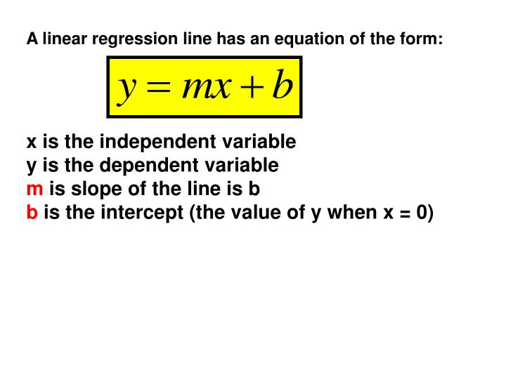 A linear regression line has an equation of the form: