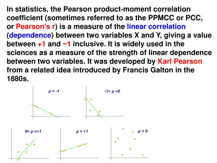 In statistics, the Pearson product-moment correlation coefficient (sometimes referred to as the PPMCC or PCC,  or