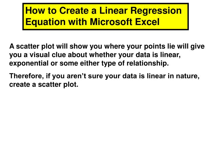 How to Create a Linear Regression Equation with Microsoft Excel