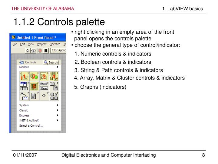 1. Numeric controls & indicators