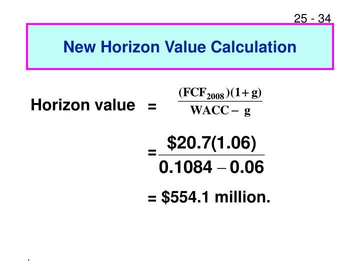 New Horizon Value Calculation