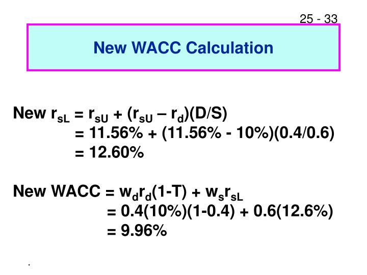 New WACC Calculation