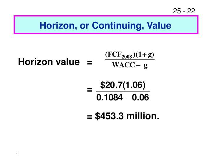 Horizon, or Continuing, Value