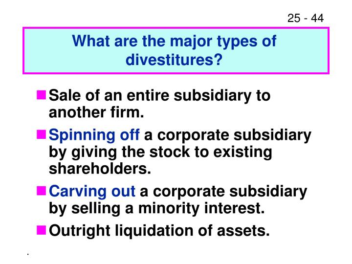 What are the major types of divestitures?