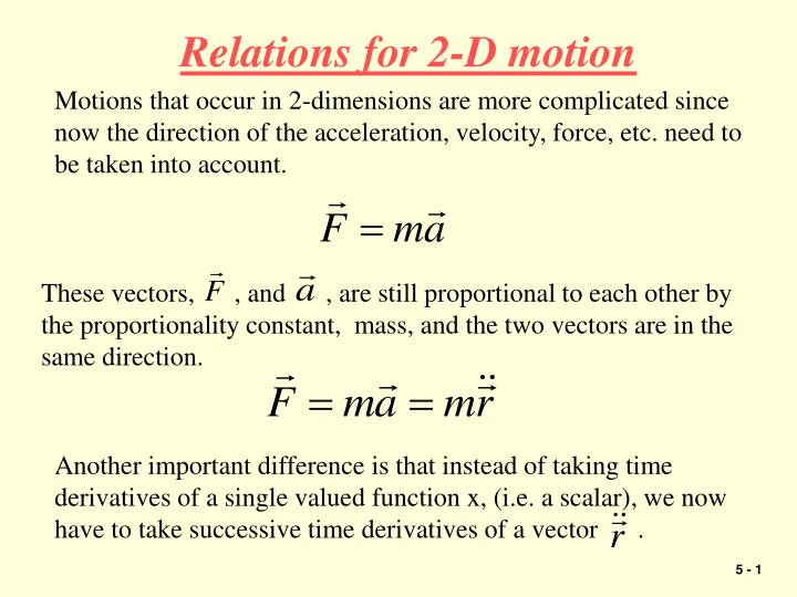 Relations for 2-D motion