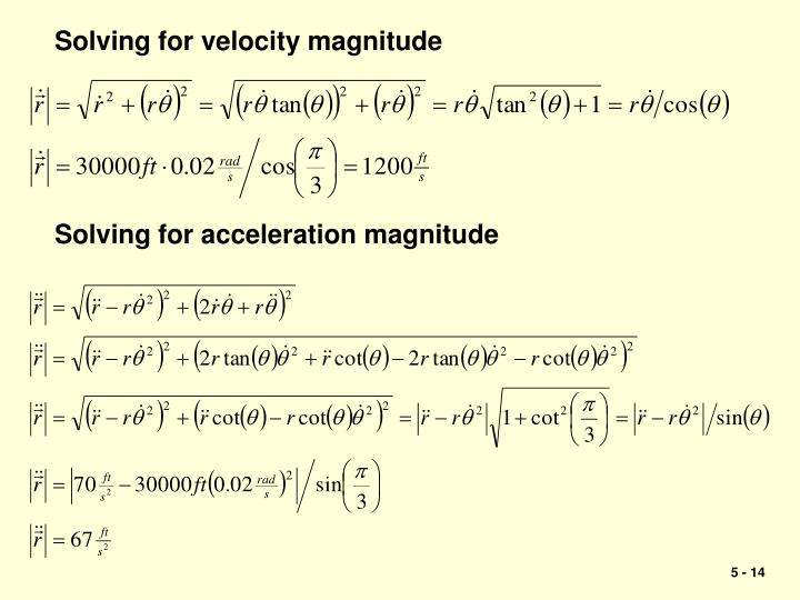 Solving for velocity magnitude