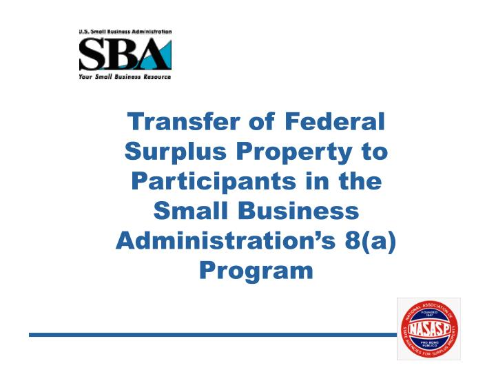 Transfer of Federal Surplus Property to