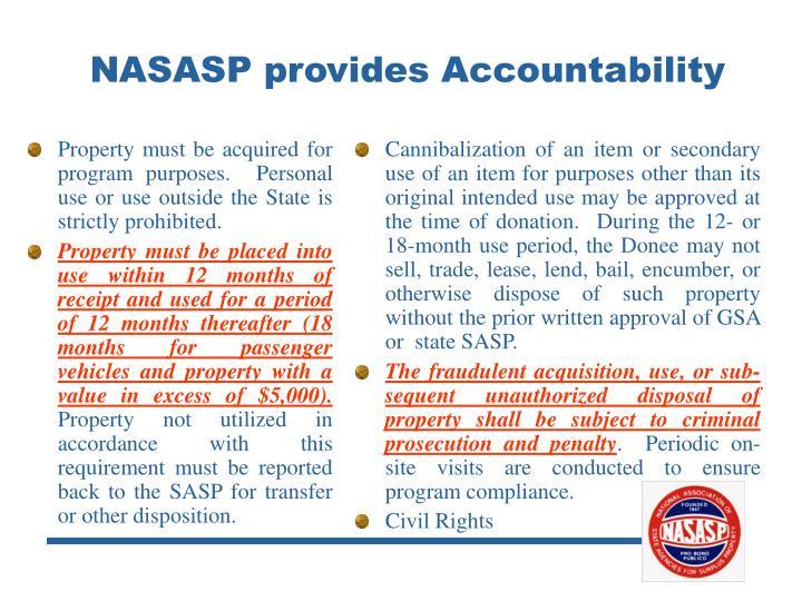 NASASP provides Accountability