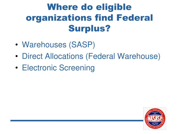 Where do eligible organizations find Federal Surplus?