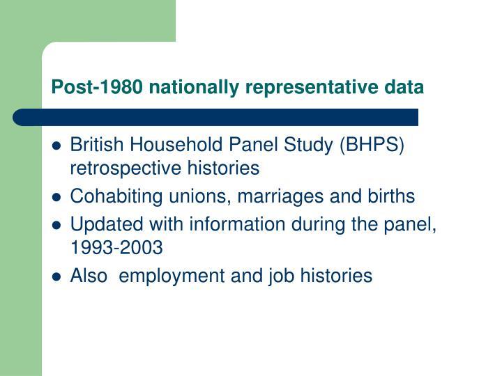 Post-1980 nationally representative data
