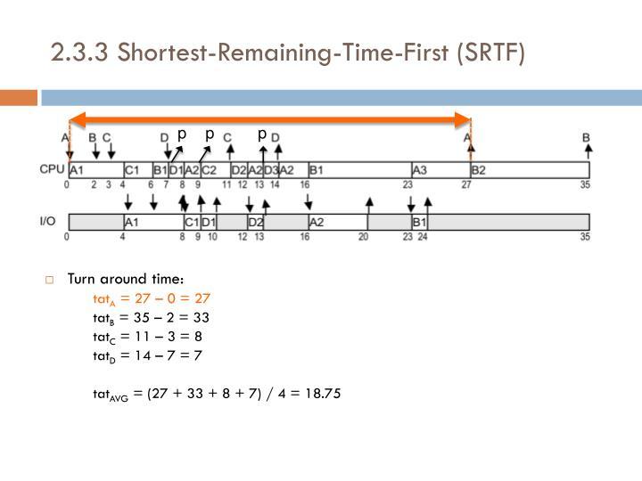 2.3.3 Shortest-Remaining-Time-First (SRTF)