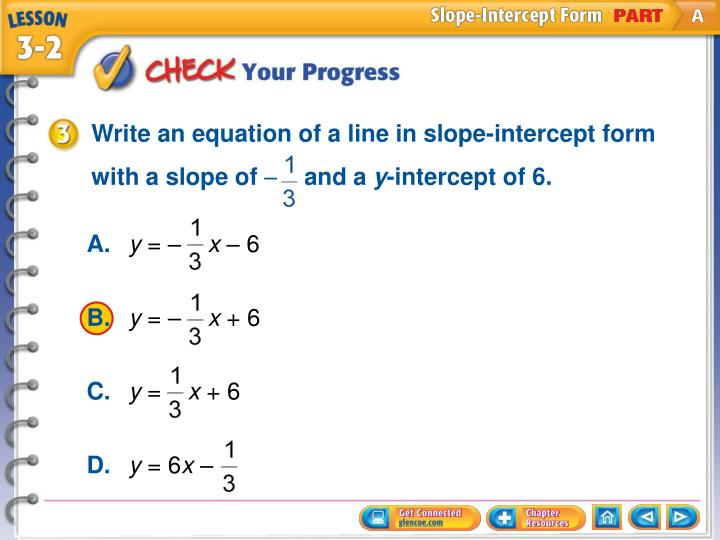 Write an equation of a line in slope-intercept form with a slope of