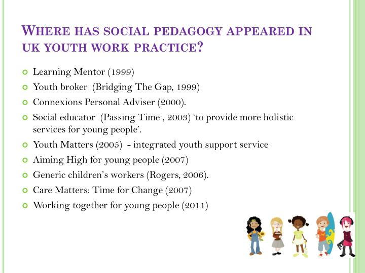 Where has social pedagogy appeared in uk youth work practice?